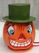 Pumpkin with Hat Paper Mache Candy Container by Ino Schaller