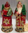 Red with Holly Leaves Santa Paper Mache Candy Container by Ino Schaller