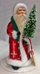 Santa Walking in Red Coat with White Snowflakes Paper Mache Candy Container by Ino Schaller