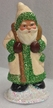 Cream Coat with Green Trim Santa Paper Mache Candy Container by Ino Schaller