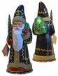 Santa in Black Coat with Holly Leaf Design Paper Mache Candy Container by Ino Schaller