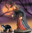 Spell Bound - Witch, Black Cat, and Mice Paper Mache Figurines