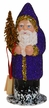 Santa, Purple Beaded with Gold Trim Paper Mache Candy Container by Ino Schaller