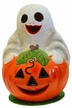 Pumpkin with Ghost Paper Mache Candy Container by Ino Schaller