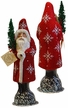 Santa, Red Beaded with Snowflakes Paper Mache Candy Container by Ino Schaller