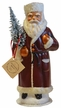 Santa, Russian Old Red Paper Mache Candy Container by Ino Schaller