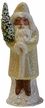 Santa in Champagne Glitter Coat Paper Mache Candy Container by Ino Schaller