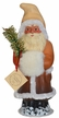 Graduated Brown to Tan Santa, One of a Kind Paper Mache Candy Container by Ino Schaller