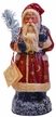 Red Santa with Moon & Stars, One of a Kind Paper Mache Candy Container by Ino Schaller