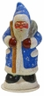 Dusty Blue Beaded Santa with Stars, One of a Kind Paper Mache Candy Container by Ino Schaller