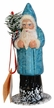 Santa, Blue with Glitter Paper Mache Candy Container by Ino Schaller