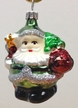 Small Green Santa with Tree & Star Ornament by Hausdörfer Glas Manufaktur