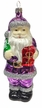 Santa with Present in Purple Coat Ornament by Hausdörfer Glas Manufaktur