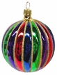 Ball with Grooves and Gold Glitter Ornament by Hausd�rfer Glas Manufaktur