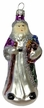 Purple Santa with Staff and Toys Ornament by Hausdörfer Glas Manufaktur