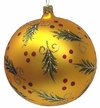 Large, Gold Holly BallOrnament by Hausdörfer Glas Manufaktur