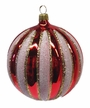 Red and White Ball Ornament by Hausdörfer Glas Manufaktur