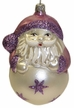 Santa on Ball with Purple Glitter Ornament by Hausdörfer Glas Manufaktur