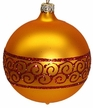 6cm Gold Matte Ball with Snake Ribbon Design Ornament by Hausd�rfer Glas Manufaktur