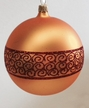 10cm Gold Matte Ball with Snake Ribbon Design Ornament by Hausd�rfer Glas Manufaktur