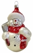 Snowman with Broom, Red Hat & Scarf with Snowflakes Ornament by Hausdörfer Glas Manufaktur