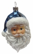 Santa Head with Beard and Light Blue Hat Ornament by Glas-Bartholmes
