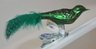 Mini Green Guinea Fowl with Feather Tail Ornament by Glas-Bartholmes