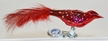 Mini Dark Red Guinea Fowl with Feather Tail Ornament by Glas-Bartholmes