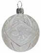Small Transparent Ball Ornament with White Rings and Screw Design by Glas-Bartholmes