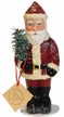 Old Style Santa with Belted Red Coat & Feather Tree Paper Mache Candy Container by Ino Schaller