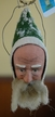 One of Kind Green Santa Head Paper Mache Ornament by Werner Brauer in Hannover