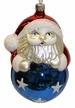 Santa on Blue Ball Ornament by Hausd�rfer Glas Manufaktur