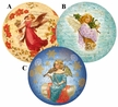 "Christmas Angels 10cm (4"") Decoupage Cardboard German Christmas Balls by Nestler - $7 Each"
