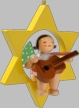 Angel with Guitar on Star Hanging Wooden Ornament by Wendt and Kuhn