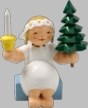 Snowflake Angel with Tree & Candle Wooden Figurine by Wendt und Kuhn