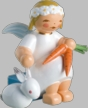 Snowflake Angel with Hare & Carrot Wooden Figurine by Wendt und Kuhn