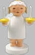 Snowflake Goodwill Angel with Two Candles Wooden Figurine by Wendt und Kuhn