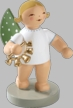 Angel with Bell Wreath Wooden Figurine by Wendt and Kuhn