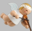 Hanging Snowflake Angel with Violin Wooden Ornment by Wendt und Kuhn