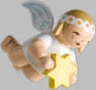 Hanging Snowflake Angel with Star Wooden Ornment by Wendt und Kuhn