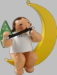 Angel with Flute on Moon Hanging Wooden Ornament by Wendt and Kuhn