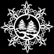 Snowflake with Trees & Moon Wood Ornament by Wandera GmbH