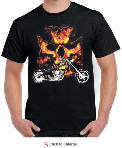 Badass Jewelry Bike Flames Men's Black T-shirt