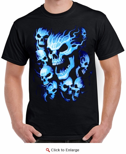 Badass Jewelry Blue Skull Men's Black T-shirt