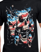 Badass Jewelry Patriotic Skulls Men's Black T-shirt