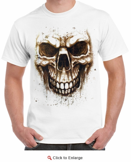 Badass Jewelry Stained Skull Men's White T-shirt