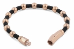Rose Gold Plated  Steel Bead  Rubber Bracelet