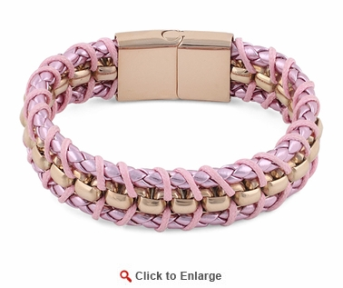 Rose Gold Plated Steel Chain Pink Leather Bracelet
