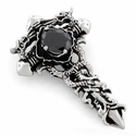 Stainless Stee 2 Dragon Cross Black CZ Pendant