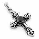 Stainless Stee Exotic Cross Black CZ Pendant